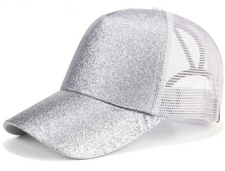 ... Women Glitter Ponytail Baseball Cap - Silver. Image 1 09cf034e226