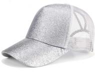 Women Glitter Ponytail Baseball Cap -  Silver - On Sale