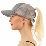 Women Glitter Ponytail Baseball Cap -  Silver - On Sale