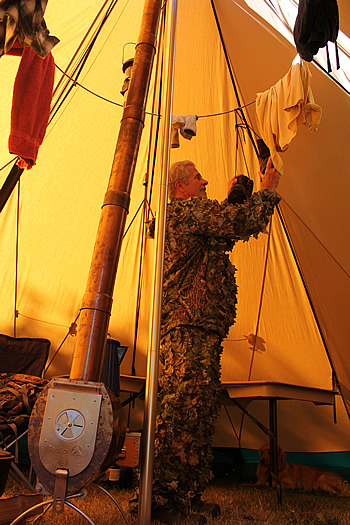 Heating and ventilation. Hunter inside large tent & Hunting Tents - In Search of the perfect Hunting tent