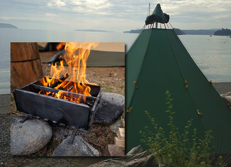 Kayak camping with Tentipi and a firebox