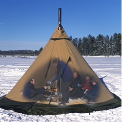 Stove and chimney opening & Unique design features designed into Tentipi Nordic tipi tents