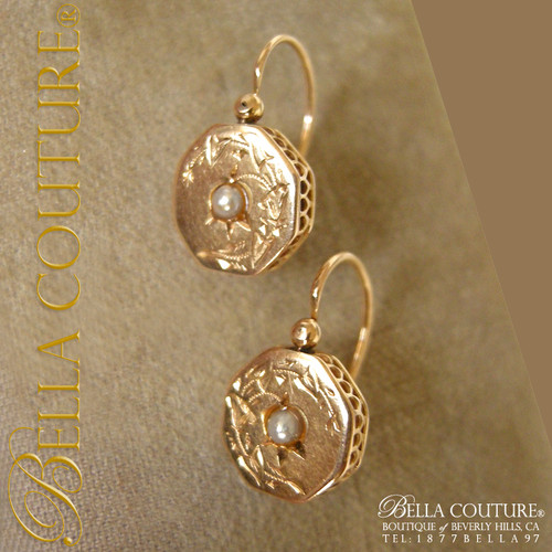 Antique 18k Gold Victorian Creole Hoop Earrings