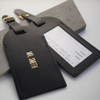Personalised Black Wedding Leather Luggage Tags