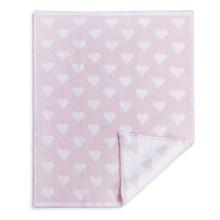 Pink Chenille Knit Heart Blanket