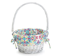 white willow gift basket with colorful liner
