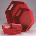 Market Tray-Small Red Hexagon