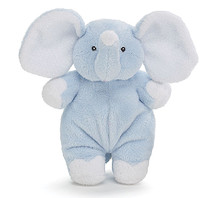 Plush Elephant Doll with Rattle in Blue