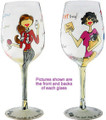"Bottom's Up 15-Ounce ""Purrrfect In Every Way"" Hand Painted Wine Glass"
