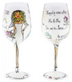 """Just Married"" Bottom's Up 15-Ounce Elegant Hand Painted Wine Glass"