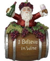 """I Believe in Wine"" Santa in Wine Barrel Christmas Ornament"