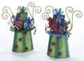 Set of Two Whimsical Tin Top Hat Ornaments with Presents