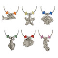 Set of 6 Silver Plated Sea Life Wine Glass Charms