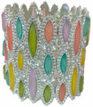 Multicolored Pastel Crystal Stretch Bracelet