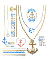 "Gold, Silver, and Turquoise Nautical Metallic ""Jewelry"" Temporary Tattoos"