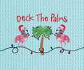 """Deck the Palms"" Christmas Kitchen Towel with Flamingos"