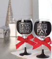 Set of 2 Holiday Chalkboard Wine Glasses Fat & Jolly, and Christmas is a Race