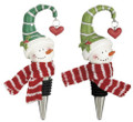 Set of 2 Happy Snowmen with Green Scarves & Heart Wine Bottle Stoppers