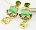 Multi Colored Green and Amber Dangle Post Crystal Earrings