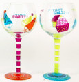 "Set of 2 ""Party"" and Cupcakes Hand Painted Wine Glasses with Party Hats"