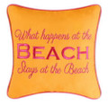"""What Happens at the Beach, Stays at the Beach"" Embroidered 10 x 10 Pillow"
