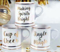 Set of Three Gold Foil Footed Mugs with Holiday Christmas Sayings