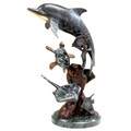 Bronze Patina Dolphin and Undersea Friends Statuette by SPI
