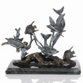 Bronze Patina Small Dolphin Seaworld Statuette by SPI