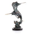 Bronze Patina Two Bills Marlin and Sailfish Statuette by SPI