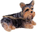 Relaxing Yorkie Hinged Bejeweled Box with Matching Necklace