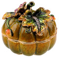 Pumpkin Figurine Bejeweled Trinket Box with Matching Necklace