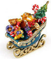Christmas Sleigh w/ Presents Figurine Bejeweled Trinket Box w/ Matching Necklace