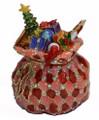 Santa's Gift Bag Bejeweled Enamel Trinket Box w/ Matching Necklace