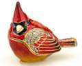 Red Cardinal Bejeweled Trinket Box with Matching Necklace