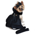 Black Wool Fur-Trimmed Dog Harness Coat with Matching Leash Size M