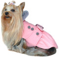 Light Pink Belted Dog Coat with Gray Faux Fur Collar