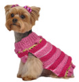 Multi Stripe Pink and Green Hand Knit Dog Sweater
