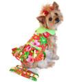 Red Hawaiian Hibiscus Designer Dog Harness Dress with Matching Leash