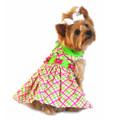 Ladybug Plaid Dog Harness Dress - Pink and Green