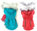 Quilted Dog Coat with Fleece Lining and Faux Fur Trim in Red or Blue