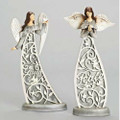 "Set of Two 11"" Laser Cut Wood-Look Peace Dove and Faith Angels  by Roman Inc."