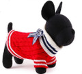 Red Cable Knit Dog Sweater with Blue & White Striped Bow