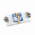 Marble Sea Shell Cheese Tray Set w Spreader and Cocktail Napkins