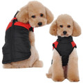 Nylon Waterproof Color Block Quilted Dog Coat Red and Black