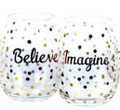 Set of 2 Gold Foil Stemless Wine Glasses: Believe &  Imagine
