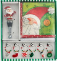 Santa Christmas Hostess Wine Accessories Set - Napkins, Charms & Bottle Stopper