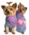 Lavender Argyle Purple Plaid Knit Dog Sweater and Scarf
