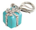 Crystal Gift Box Charm for Pet Collars, Purse or Charm Bracelet, Zipper Pull