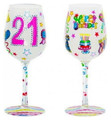 """21 and It's My Birthday"" Bottom's Up Hand Painted Wine Glass with Bling"
