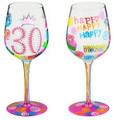"""""""30 Another Year Older"""" Bottom's Up Hand Painted Wine Glass with Bling"""